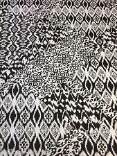 B22 Rayon Elastane Black White Mono Abstract Print Jersey Stretch Lycra Fabric