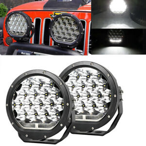 Pair 7inch 45W Round LED Work Lights DRL Spot Driving Fog Lamp Offroad Truck 4WD