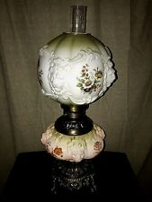 Victorian GWTW Lamp Green Accent Glass LIONS HEADS **Gone With The Wind Lamp