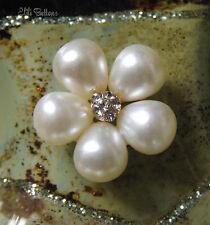 2 x Botones de perla y diamantes de imitación imitación Daisy, 23mm, Flatback