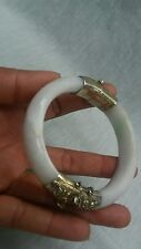Pretty vintage antique Chinese silver gilt jade hinge bracelet bangle