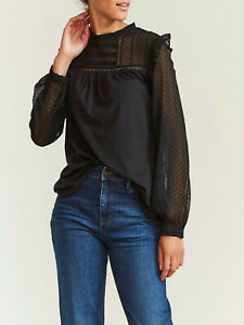 EX FatFace Black Lottie Spotted Top in Sizes 12, 14, 16, 18, 22 RRP £35