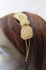 New Women Gold Headband Metal Fashion Bow Clear Rhinestones Hair Accessory Band