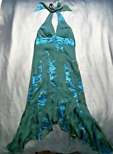 New Jonathan Martin Green/Teal Silk Chifon Halterneck /Scarf Hem Dress-Size 6