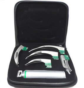 New Fiber Optic Mac Laryngoscope Set (LED Light) White Set of 6