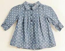 babyGAP Size 3-6 Months Gray Hearts Long Sleeve Dress