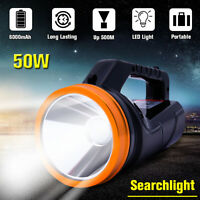 LED Searchlight Rechargeable Handheld Spotlight Flashlight Camping Hiking Torch