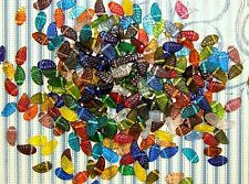 LOOSE INDIA PRESSED GLASS BEADS-MIXED CLEAR COLORS-LEAF-LEAVES-40 BEADS-GIFT