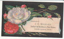 J C Buckley Ladies & Childrens Shoes North East Mass Flowers Vict Card c 1880s