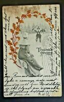 1907 Meriden To Middletown CT Thanksgiving Greetings Postcard Cover