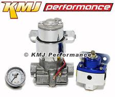 High Flow Electric Fuel Pump 140GPH Universal w/ Blue Regulator & Pressure Gauge
