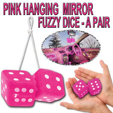 Zone Tech Pair Vintage Car Pink Hanging Key Chain Mirror Fuzzy Dice 2.75""