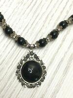 Vintage Statement Necklace Pendant Black Glass Silver Tone & Rhinestone Baroque