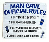 """MAN CAVE RULES - Small Home Decor Metal Plaque Sign  - 7"""" X 6"""" Great Dad Gift"""
