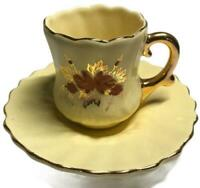 Vtg 1947-58 Hand Painted Norso Camark Demitasse Cup & Saucer Yellow W/ Gold Trim