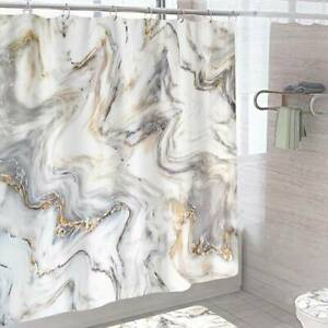 Modern Simple Pattern Extra Long Standard Washable Shower Curtain with 12 Hooks