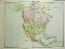 1920 LARGE MAP ~ NORTH AMERICA DOMINION OF CANADA UNITED STATES MEXICO CUBA etc