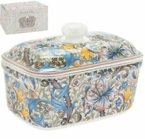 OFFICIAL VINTAGE WILLIAM MORRIS GOLDEN LILY PINK BUTTER DISH WITH LID NEW