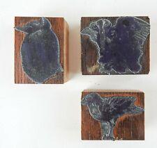 Lot of 3 Etched Metal & Wood Print Blocks in the Manner of Leonard Baskin Birds