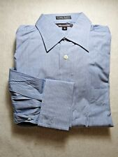 Faconnable Blue Striped Dress Shirt French Cuffs Pocket Cotton 15L 2