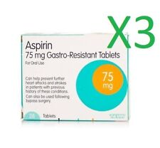 3 x 28 tablets Aspirin 75mg ENTERIC COATED Tablets