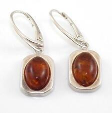 Sterling Silver Orange Amber Dangle Earrings