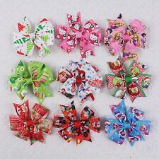 "Kids Baby Girl 9pcs Hair Bows 3"" Boutique Disney Cartoon Accessory 2749B Mix2-P"