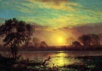 Dream-art Oil painting Evening Owens Lake California sunet with river canvas 36""