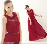 Maxi Evening Cocktail Party Dress Cut Out Neckline Apricot/Black/Red Wine 7275