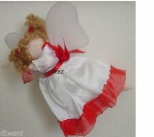 """Angel Hanging Flying Doll Ornament  Holding Red Heart  7"""" Delton New"""