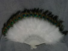 White Maribou peacock feather fan Victorian Old West Vintage style large NEW!