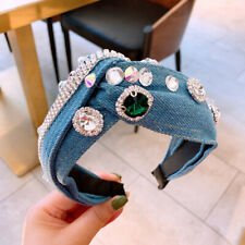 Baroque Women's Denim Crystal Headband Hairband Knot Hair Band Accessories Party