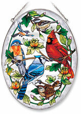 Birds Sun Catcher AMIA Hand Painted Large Oval New Cardinal Blue Jay Chickadee