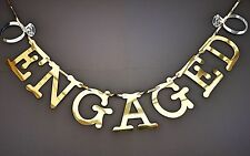 Engaged Banner Gold Mirror Shiny Engagement Party Decoration. With Rings.