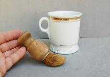 Czechoslovakia Czech Shaving Mug Porcelain Gold Trim & Wood Handle Brush Vintage