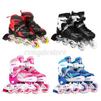 Inline Skates W/4 Illuminating Wheel Adjustable Roller Blades Boots For Kids Boy