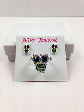 NWT Betsey Johnson Rhinetone Pave OWL Ring and Earring Set Free Shipping