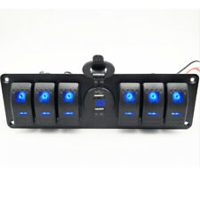 6 GANG Rocker Switch Board LED Voltmeter Dual USB Charger For Car Truck Boat RV