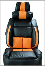 UNIVERSAL LIMOUSINE BLACK/ORANGE S.LEATHER FRONT ONE SEAT COVER & NECK CUSHION