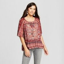 NEW Women's Sheer Print Peasant Top Knox Rose Mulled Wine Red Size XXL