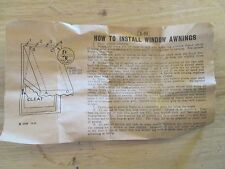 How to Install Window Awnings PAPER INSTRUCTIONS ONLY dated 11-41