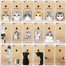 For iPhone 7 Plus 6S Case Cover Ultra-thin Clear TPU Cute Cat Hollow Out Pattern