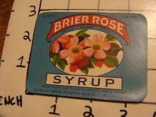 Vintage Original Label: BRIER ROSE SYRUP green mountain packing Stalbans VT
