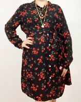 Ladies Monsoon Poppy Floral Smock Dress Tunic Sz 16 Black Red Mix Occasion