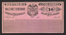 Colombia 1890s Cubierta Valor Declarado 10c unused