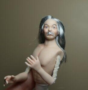 miniature porcelain dollhouse doll older man handsome silver fox mustache