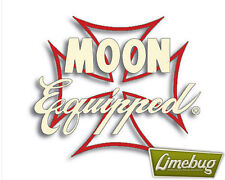 Mooneyes Moon Equipped Red Iron Cross Script Sticker Stickers Decal VW Car Bug