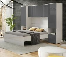 Cellini White Gloss & Grey Overbed Storage Unit Wardrobes Bedroom Furniture 2935