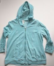 Chico's 1 Zenergy Women 8 10 S Jacket hooded 3/4 sleeve zipper Lace Blue Teal