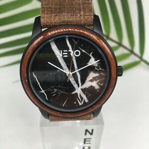 Nero Venice Royal Watch toughen leather with a Black Marble face